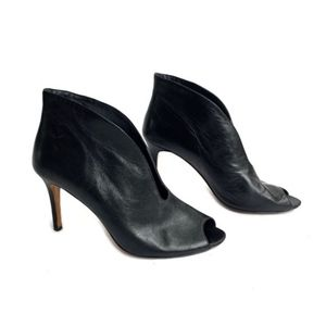 Vince Camuto Black Leather Peep Toe Booties